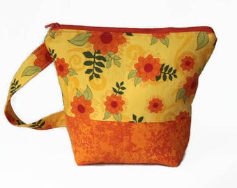 Yellow and Orange Flowered Project Bag Small Zippered