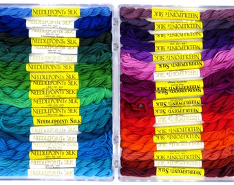 Silk, rainbow, needlepoint threads, silk fiber, embroidery threads, thread assortment, hand dyed thread, holiday gift, color assortment