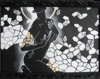 figure painting black and white modern mixed media art framed.  our lady of gleaming moonlinght.