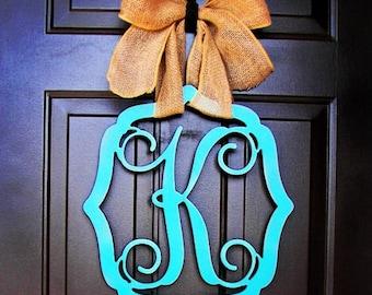 Custom UNFINISHED MONOGRAM Initial Letter in vintage Frame/door hanger/nursery / wall hanging/Mother's Day Gift /24 inch/wooden/front door