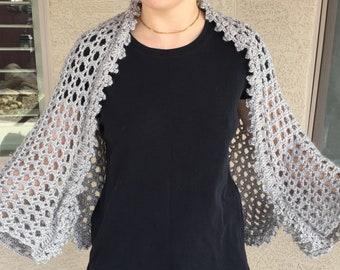 Silver gray crochet shrug