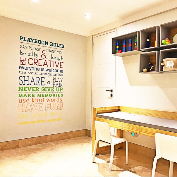 Playroom Rules Wall Decal, Playroom Wall Decal, Kids Wall Decal, Childrenu0027s Wall  Decal, Playroom Rules Wall Sticker, Kids Play Decals