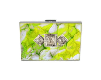 Art Deco Embellished RFID Metal Wallet with Card Organizer Inlaid in Hand Painted Enamel with Color and Personalized Options