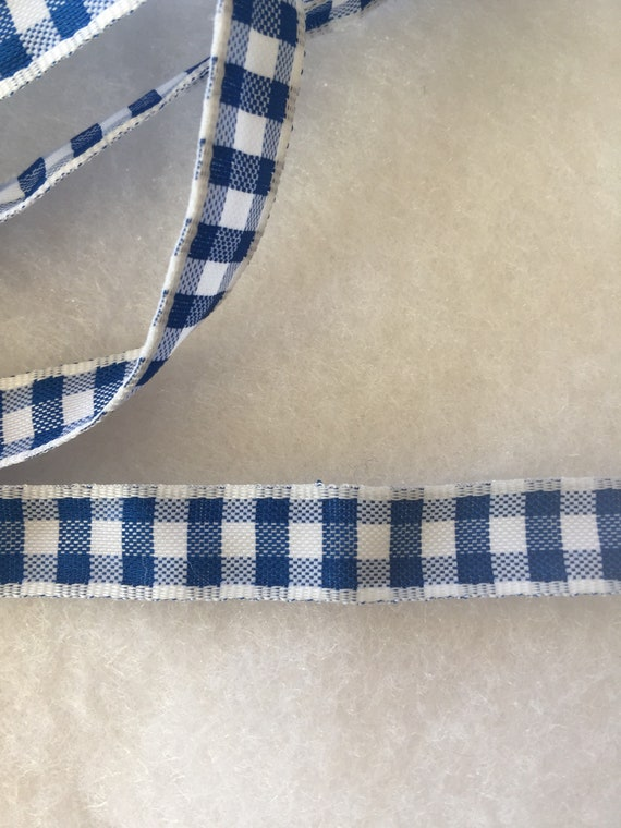 Vintage Blue and White Gingham Check Ribbon Trim 4 1/2 Yards