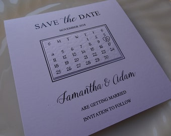 Square Save The Date Calendar Cards