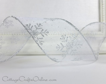 "Wired Christmas Ribbon, 2 1/2"" wide, White Sheer Silver Snowflakes Glitter - THREE YARDS -  Holiday Craft Wire Edged Christmas Ribbon"
