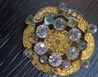 antique goldtone end 29 mm rhinestone Button