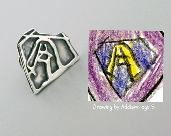 Fathers Day Gifts For Him - Personalized Lapel Pin - Silver Tie Pin - Child Artwork - Kid Drawing - Custom Tie Tack