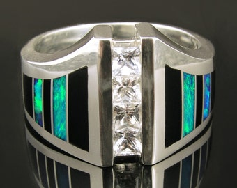 Man's white sapphire ring inlaid with onyx and Australian opal.