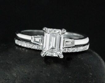 Emerald Cut Engagement Ring - Forever One Moissanite - Half Eternity Diamond Wedding Band