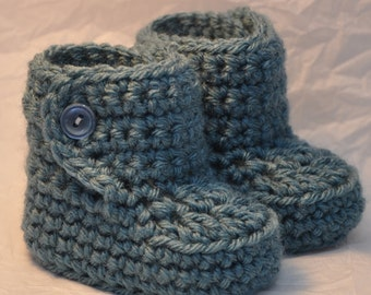 Baby Bootie Boots for 0 to 6 months with Button top made in Dusty Blue