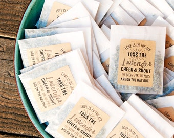Wedding Send Off - Exit Toss in Kraft Brown Color - Dried Lavender Petal Toss - 25 finished lavender packets