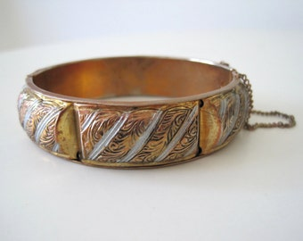 Vintage Ethnic Cuff Copper, silver and Gold Etched Floral Swirl Design - Bohemian Gypsy Indian Bracelet