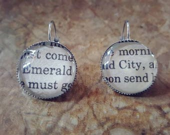 Wizard of Oz Emerald City book page earrings