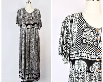 India style long hippie ELEPHANTS print dress / small to large