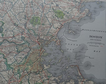 1909 City Map Boston Massachusetts - Vintage Antique Map Great for Framing 100 Years Old