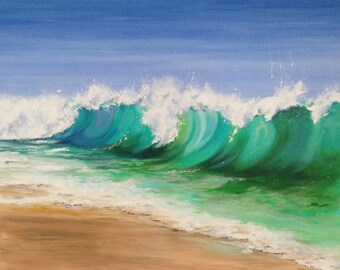 Seascape - Ocean Painting - Waves - Beach Painting - Coastal Art - Beach Decor - Original - Beach House Art- Large Painting - 24 x 30