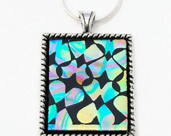 Fused Glass Pendant, Dichroic Glass, Pendant, Rainbow Patterns Pendant, Etched Glass