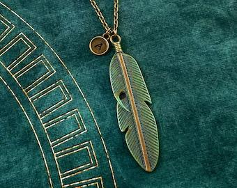 Feather Necklace Bird Feather Jewelry Bird Jewelry Bird Necklace Patina Feather Charm Patina Necklace Personalized Necklace Initial Necklace