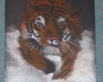Tiger drawing PASTELS with its snow format 29.7 X 42 cm on black paper