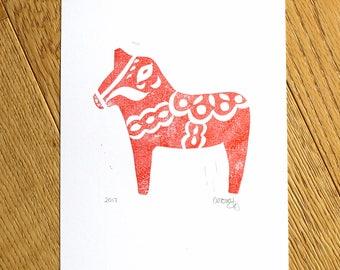 Original Dala Horse Art, Lino Print, Original Artwork, Original Print, Hand Printed Art, Handmade Art, Swedish Gifts, Swedish Dala Horse