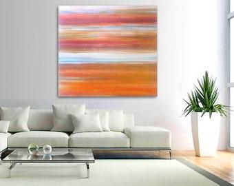 "Original large abstract painting - acrylic on canvas - 36""x36"" - southwest decor - boho decor - ombre - minimal - desert - stripes - zion"