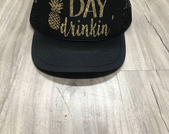 Day Drinkin' Pineapple Trucker Hat Brunch River Lake Summer Trucker Hat Women's Trucker Hat Glitter Drinking Alcohol Party Hat