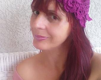 Womens lace summer hat Women's cloche hats Ladies crochet beanie Girls knit hat Pink hat with flowers Lace summer cloche Crochet cotton hat