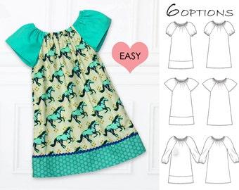 Girls peasant dress pattern pdf, girls dress patterns, girls dress pattern, girls sewing pattern,  PDF pattern, toddler dress, ANNA girls