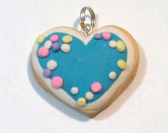Sugar Cookie Heart Polymer Clay Charm