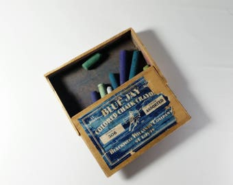 Vintage Blue Jay Wood Box Colored Chalk