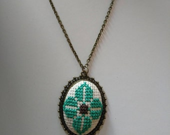 Turquoise Embroidered necklace