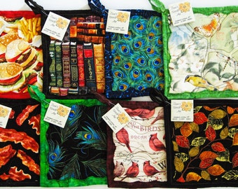 2 Fabric Hot Pads Pair Quilted Potholders Handmade Insulated Pot Holders Artistic Theme Hotpads Housewarming Hostess Christmas Gifts