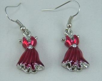 E269, Red Dress Charm Earrings
