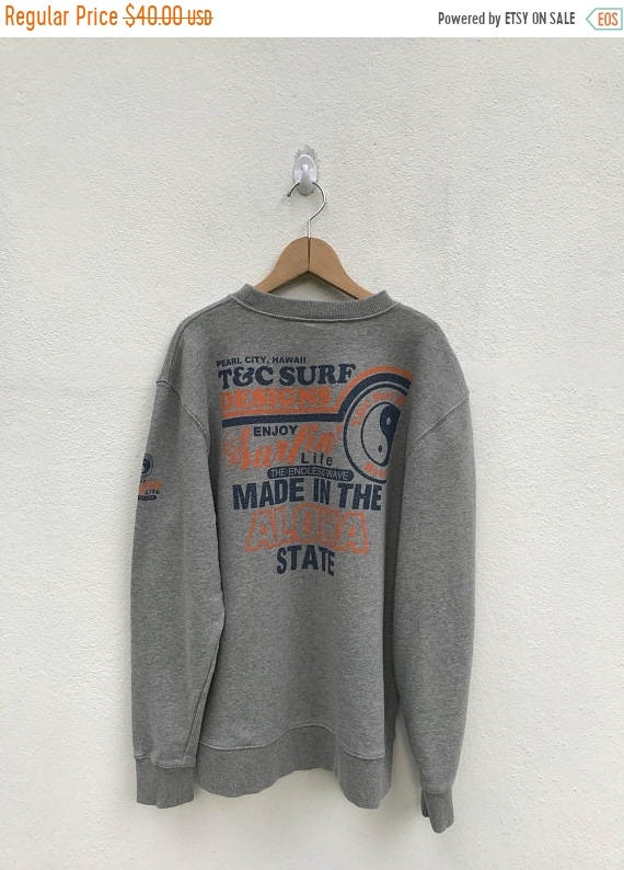 20% OFF Vintage T and C Surf Designs Hawaii Sweatshirt/Town and Country Clothing/T and C Surfboards IoKtEiMd