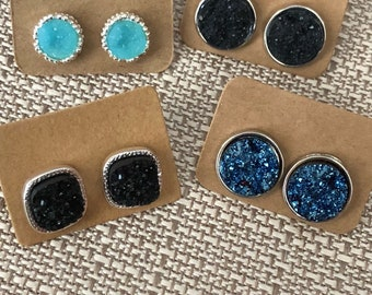 Druzy Post Stud Earrings // Drusy // Delicate Jewelry // Druzy Earrings // Stud Earrings // Bridesmaid Gifts // Druzy // Druzy Jewelry //