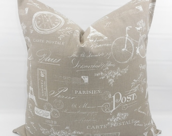 Ecru  Pillow cover. Ecru & White. Paris Print Pillow cover. Stamp.  Country Style Pillow Case. 1 piece.  cotton. Select your size
