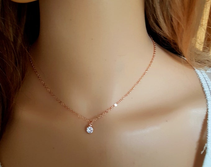 18K Gold fill tiny CZ diamond necklace choker clear Cubic Zirconia pendant stacking Rose Gold layering jewellery minimalist Jewelry gift