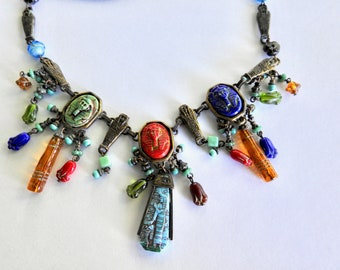 Vintage Sweet Romance Egyptian Necklace Made with Deco Glass