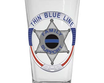 Thin Blue Line Family Support 6 Point Star Pint Glass SKU: GW550
