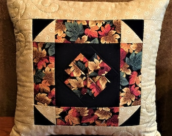 Autumn Leaves Quilted Decorator Pillow