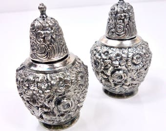 Vintage Pair of Weidlich Bros Mfg Co Silver Plated Repousse Floral Salt and Pepper Shakers | Estate Item