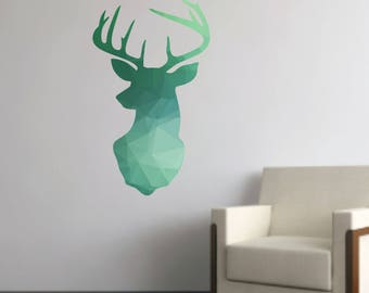 Deer Wall Decals - Geometric Deer Decal - Modern Deer Wall Decal - Reusable Deer Fabric Decal - Polygon Deer Decal