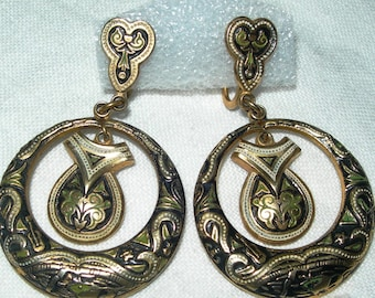 Damascene earrings, vintage, black and gold, hand made