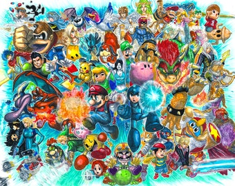 Super Smash Bros. for 3DS and Wii U Giant Roster Poster