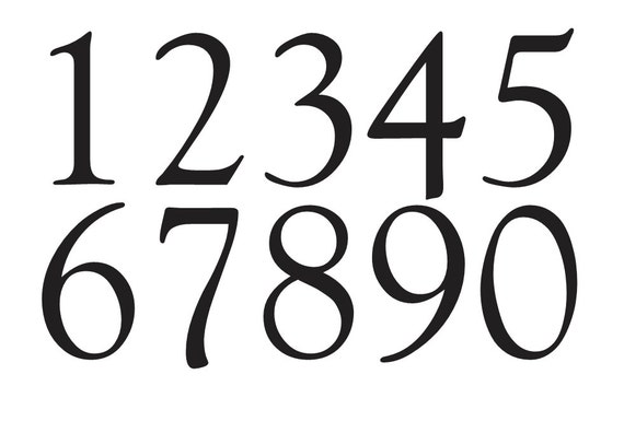 Number Stencil 3 Goudy Old Style Font Numbers 0 9 For