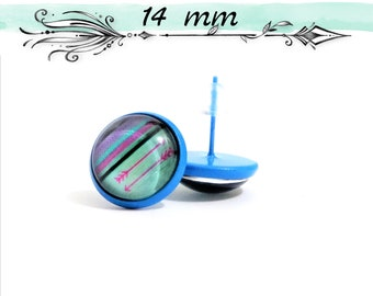 Earrings STUD, STUDS, 14 mm - 12 mm, all copper blue glass Cabochon, blue, turquoise and pink - grounds and arrows