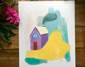 Abstract art print, purple house, red door, drawing,  watercolor painting, illustrated,  archival,  design