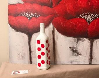 White Liquor Bottle with Red Dots Vase for Household Decor