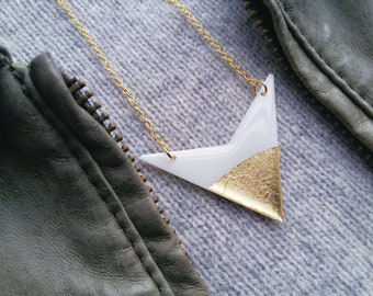 minimalist necklace gold dipped necklace white jewelry white and gold necklace gold jewellery trending jewelry geometric jewelry gift idea